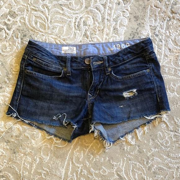 GAP Pants - Gap 1969 denim ripped shorts 26/2 - dark